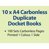 10 x A4 Carbonless Duplicate Books in 100 sets