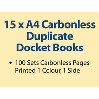 15 x A4 Carbonless Duplicate Books in 100 sets