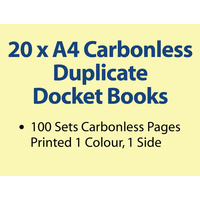 20 x A4 Carbonless Duplicate Books in 100 sets