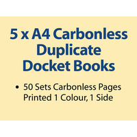 5 x A4 Carbonless Duplicate Books in 50 sets