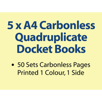 5 x A4 Carbonless Quadruplicate Books in 50 sets
