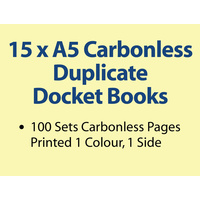 15 x A5 Carbonless Duplicate Books in 100 sets