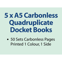 5 x A5 Carbonless Quadruplicate Books in 50 sets