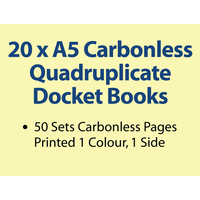 20 x A5 Carbonless Quadruplicate Books in 50 sets