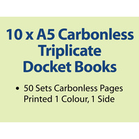 10 x A5 Carbonless Triplicate Books in 50 sets