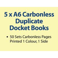 5 x A6 Carbonless Duplicate Books in 50 sets