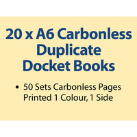 20 x A6 Carbonless Duplicate Books in 50 sets