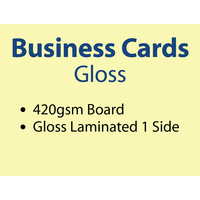 500 x Business Cards - 420gsm - Gloss Lamination 1 side