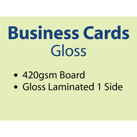 1,000 x Business Cards - 420gsm - Gloss Lamination 1 side
