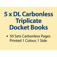 5 x DL Carbonless Triplicate Books in 50 sets