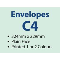1,000 x C4 Plain Envelope 229x324 mm - 1 or 2 colours